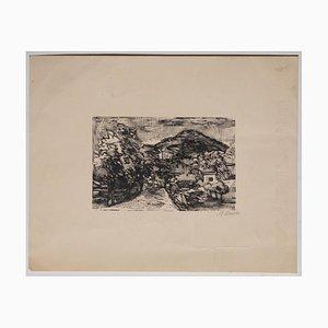 Affiche Mino Maccari - Landscape - Gravure sur Bois Original sur Papier - Début 20ème Siècle
