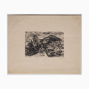 Mino Maccari - Landscape - Original Woodcut Print on Paper - Early 20th Century