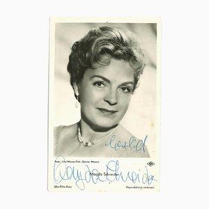 Unknown - Autographed Portrait of Magda Schneider - Vintage B/W Postcard - 1950s