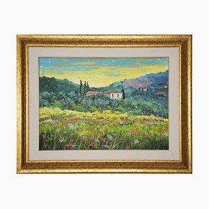 Tableau Luciano Sacco - Flowers Among the Olive Trees - Peinture à l'Huile Originale - 1980s