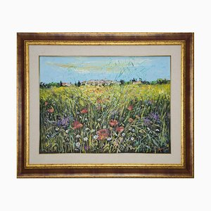 Luciano Sacco - Wildflowers - Original Oil Painting on Canvas Canvas - 1980s