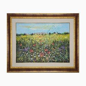 Peinture à l'Huile sur Toile par Luciano Sacco - Wildflowers - 1980s