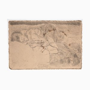Mino Maccari - Sleeping Figure - Original Etching on Paper - 1925