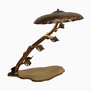 Lampada da tavolo Mid-Century in ottone con ante, anni '70