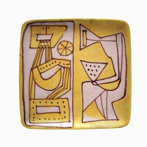 Plato de arenisca policromada de Guido Gambone, años 60