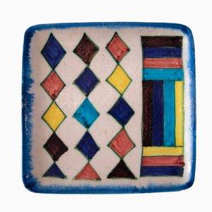 Plato de loza multicolor de Guido Gambone, años 60