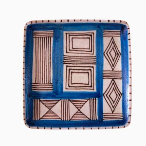 Square Multicolored Earthenware Plate by Guido Gambone