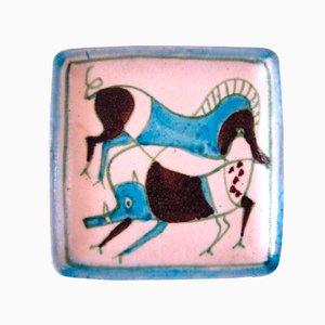 Plato italiano multicolor de loza de barro de Guido Gambone, años 60