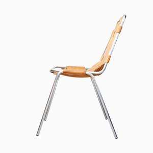 Les Arcs Cognac Leather Chair by Charlotte Perriand