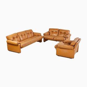 Coronado Sitzgruppe aus Leder, 1960er, 3er Set
