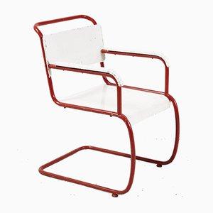 Bauhaus Armlehnstuhl in Rot & Weiß