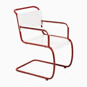 Red and White Bauhaus Armchair