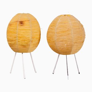 Yellow Raffia Shade Table Lamp