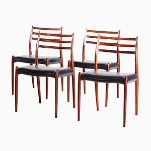 Modell 78 Palisander Stühle von Niels O. Moller, 4er Set