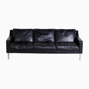 Angular Black Leather Sofa