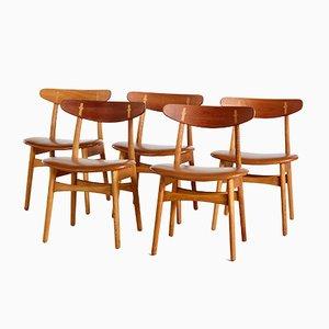 CH30 Teak Dining Chairs by Hans J. Wegner, Set of 5