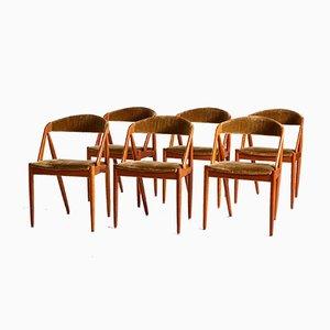 Danish Model 31 Velvet Chairs by Kai Kristiansen, Set of 6