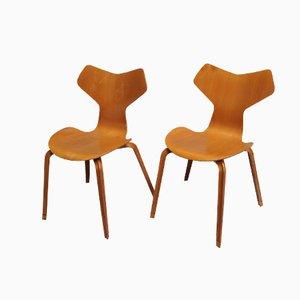 Grand Prix Buchenholz Stühle von Arne Jacobsen für Fritz Hansen, 2er Set