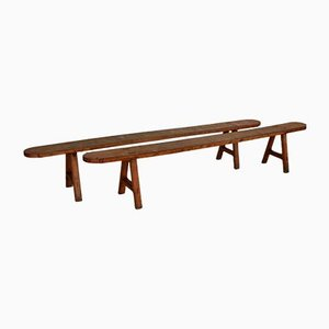 French Wooden Bench, 1950s