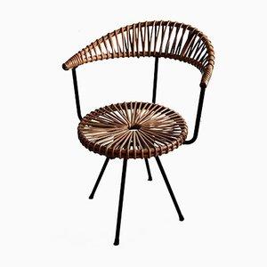 Mid Century Stuhl aus Rattan & schwarzem Eisen von Dirk van Sliedregt für Gebroeders Jonkers Noordwolde