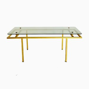 French Glass & Brass Coffee Table, 1960s