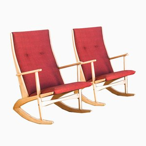Danish Beech Rocking Chairs by Holger Georg Jensen for Tønder Møbelværk, 1960s, Set of 2
