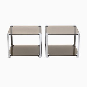Chromed Metal & Smoked Glass Nightstands, 1970s, Set of 2