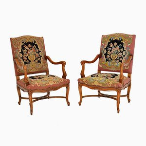 Antique Carolean Style Needlepoint Armchairs, Set of 2
