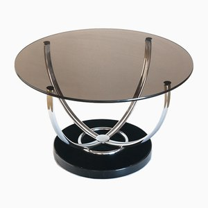 French Lacquered Wood, Chrome-Plated Metal & Glass Side Table, 1970s