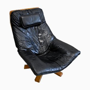 Leather & Beech Swivel Chair, 1970s