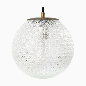Mid-Century Clear Glass Pendant Lamp with Brass Top