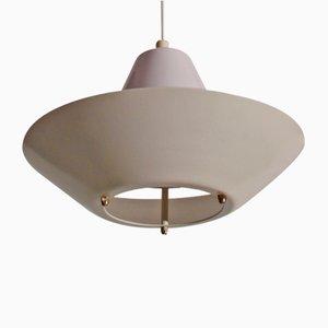 Danish UFO-Shaped Stainless Steel & Hardened Plastic Ceiling Lamp from Frandsen, 1950s