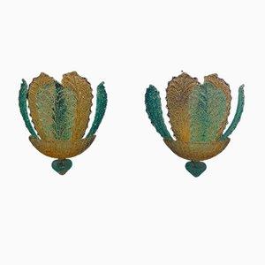 Applique vintage in vetro di Murano di Barovier & Toso, anni '80, set di 2