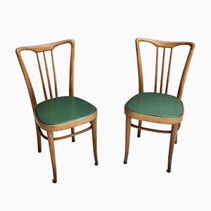 Italian Wood and Faux Leather Dining Chairs, 1950s, Set of 6