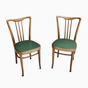 Italienische Esszimmerstühle aus Holz und Kunstleder, 1950er, 6er Set