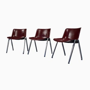 Bordeaux Colored Modus Stacking Chairs by Osvaldo Borsani for Tecno, 1960s, Set of 9