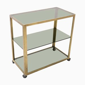 Brass & Glass Drinks Trolley or Bar Cart, 1980s