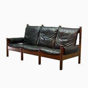 Scandinavian Black Leather 3-Seater Sofa, 1960s