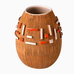 Italienische Bitossi Keramik Vase mit Abstrakt Glasierten Elementen