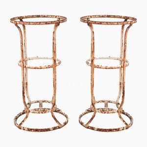 Antike Französische Patinierte Gartenstühle aus Schmiedeeisen, 2er Set