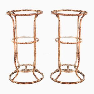 Antique French Patinated Wrought Iron Garden Stands, Set of 2
