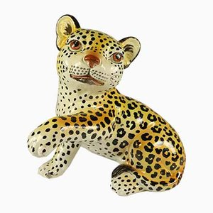 Ceramic Leopard / Cheetah Baby Hand Painted Figurine, Italy, 1960s