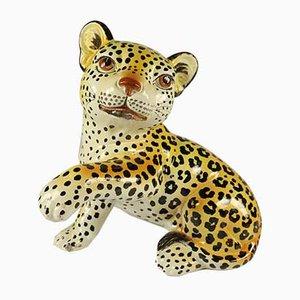 Estatuilla de leopardo / guepardo infantil de cerámica pintada a mano, años 60