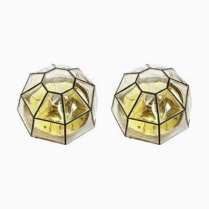 Deutsche Deckenlampen aus Eisen & Klarglas von Limburg, 1960er, 2er Set
