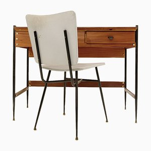 Italian Desk with Formica Top & Chair, 1960s, Set of 2