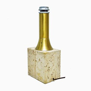 Travertine & Brass Table Lamp by Fratelli Mannelli, 1960s