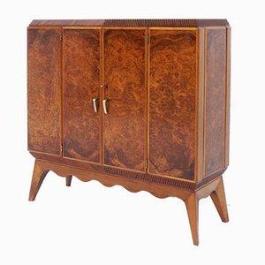 Mueble bar italiano estilo Gio Ponti & Emilio Lancia de madera nudosa de nogal, años 40