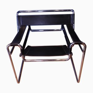 Chrome & Black Leather Wassily B3 Armchair by Marcel Breuer for Habitat, 1970s