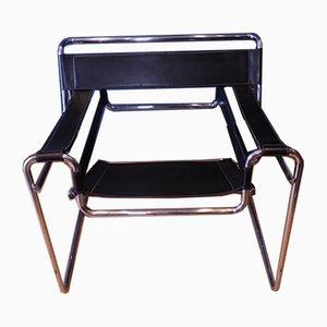 Wassily B3 Sessel aus Chrom & schwarzem Leder von Marcel Breuer für Habitat, 1970er