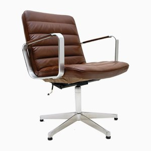 Brown Leather Swivel Chair by Karl-Erik Ekselius for AB J.O. Carlson, 1960s
